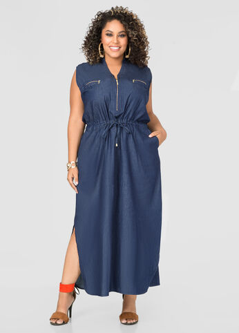 Drawstring Denim Maxi Dress