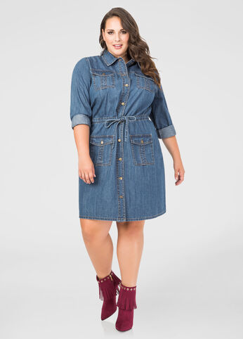 Drawstring Button Front Jean Dress