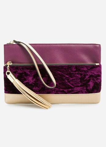 Purple Velvet Metallic Wristlet Clutch