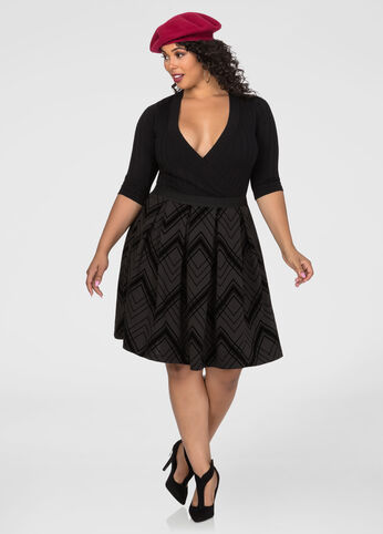 Flocked Pleated A-Line Skirt