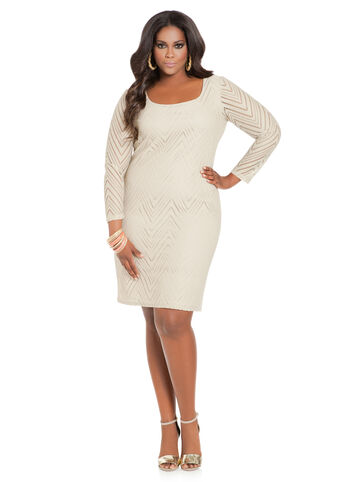 Chevron Crochet Back Keyhole Dress