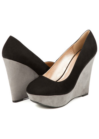 Faux Suede Color Block Wedge