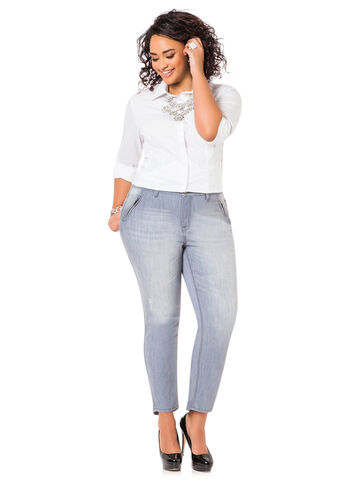 Side Zip Pocket Skinny Jeans