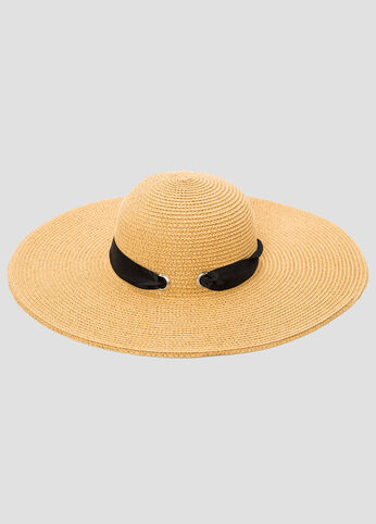 Ribbon Straw Floppy Hat