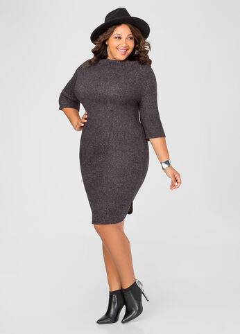 Brushed Ribbed Shirttail Sweater Dress