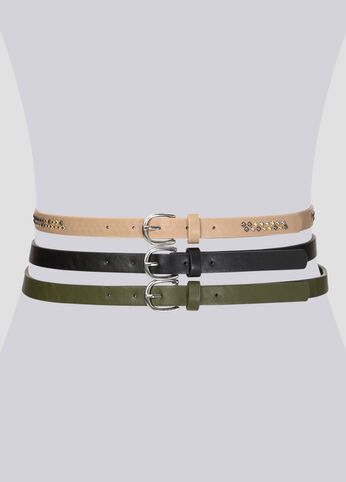 Pyramid Stud Belt Trio