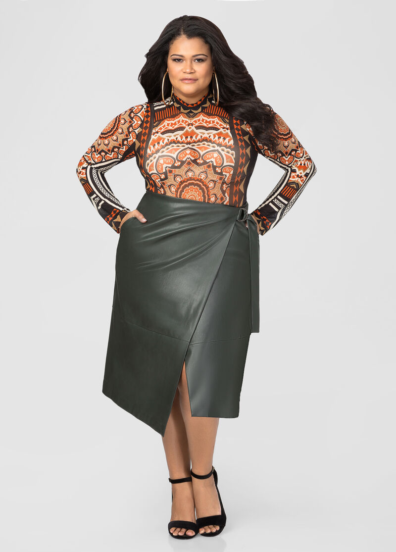 Wrap Front Faux Leather Skirt-Plus Size Sweaters-Ashley ...