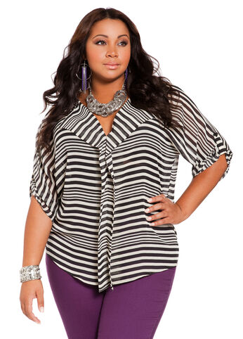 Web Exclusive: Stripe Platter Front V-neck