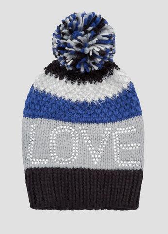 Novelty Stripe Love Pom Beanie Hat
