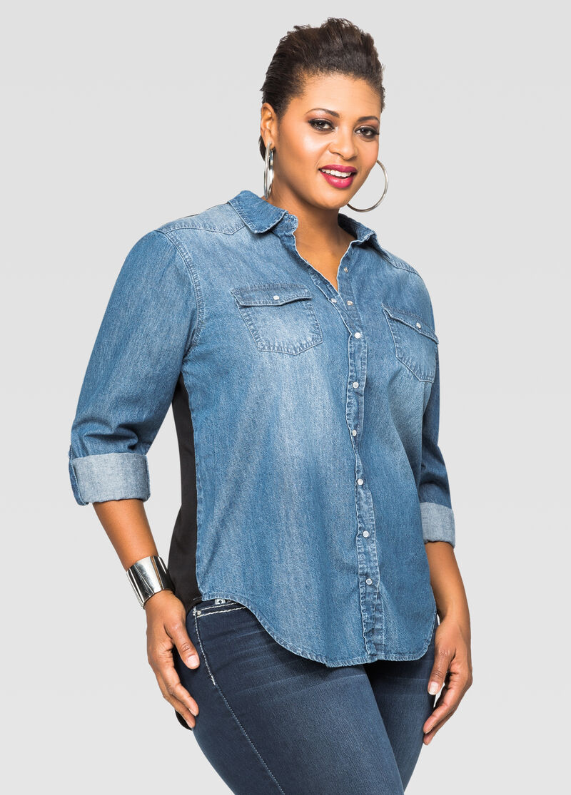 Coming And Going Denim Shirt-Plus Size Denim-Ashley Stewart