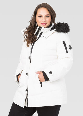 Faux Fur Trim Puffer Winter Coat