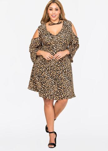 Leopard Deep V Cold Shoulder Dress Multi - Dresses