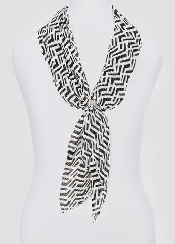 Pleated Geo Print Skinny Scarf at Ashley Stewart