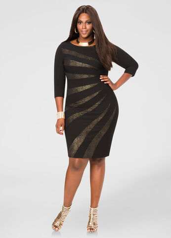 Glitter Sunburst Bodycon Dress