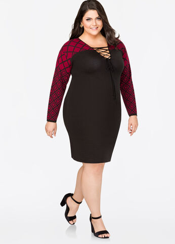 Geo Yoke Lace-Up Sweater Dress