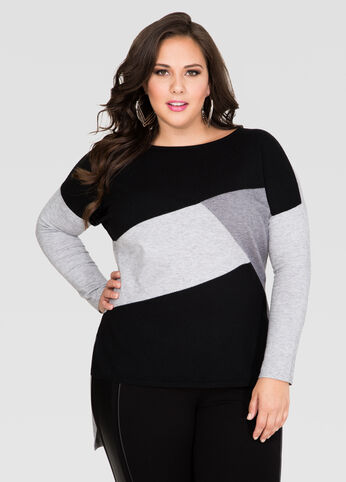 Colorblock Hi-Lo Sweater