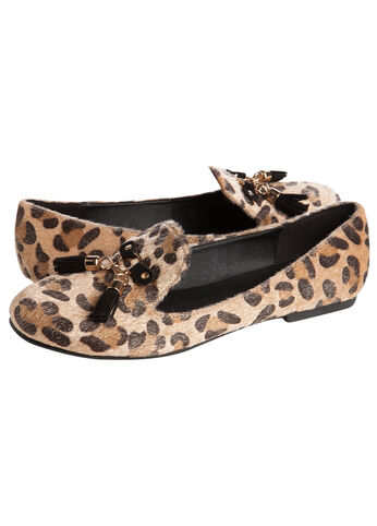 Web Exclusive: Animal Print Tassle Smoking Slippers (Medium Width)