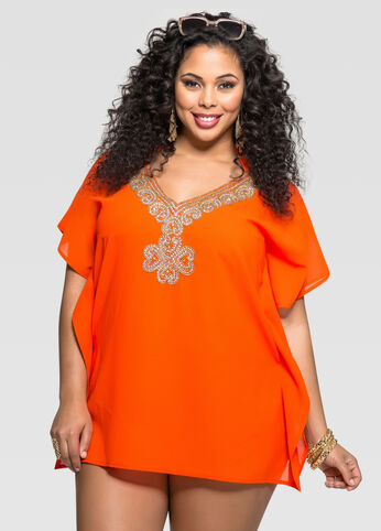 Tangerine Embellished Neck Cover-Up