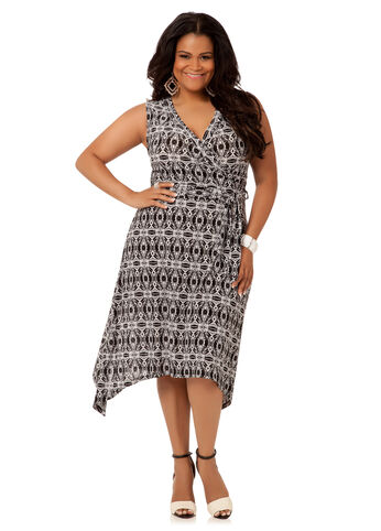 Print Sleeveless Wrap Dress