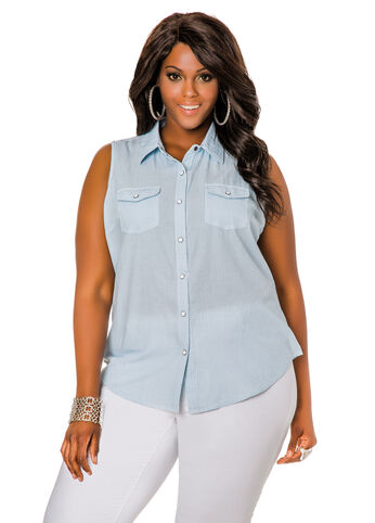 Pinstripe Chambray Button Front Shirt