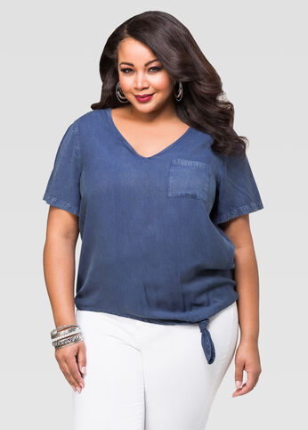 Side Tie Denim Tee