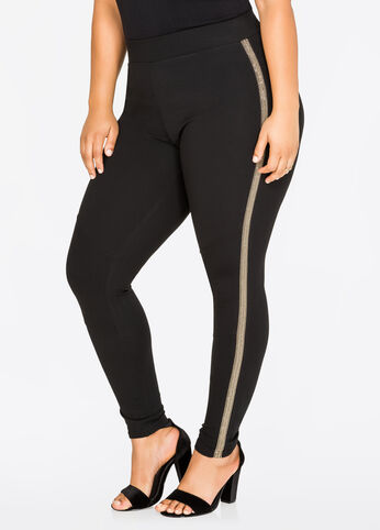 Metallic Trim Ponte Legging