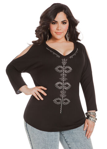 Aztec Studded Cold Shoulder Top