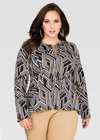 Geo Stripe Peplum Jacket