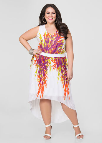 Accordion Pleat Hi-Lo Dress