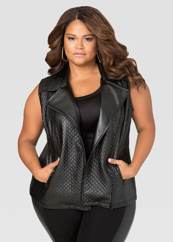 Faux Leather Quilted Moto Vest