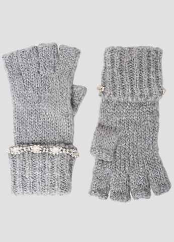 Rhinestone Embellished Knit Gloves