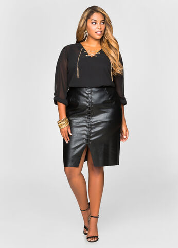 Croc Embossed Lace-up Skirt