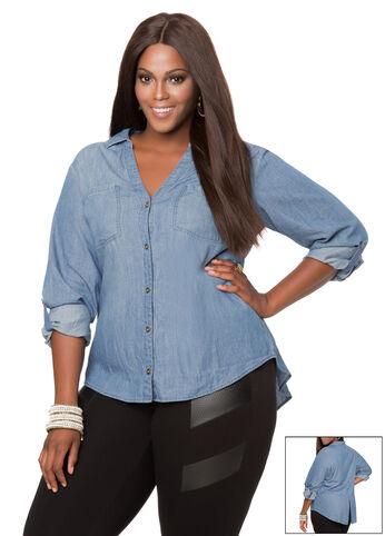 Back Split Denim Shirt