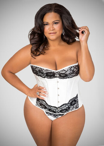 White Satin N Lace Corset Lingerie Set