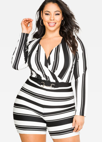 Surplice Striped Romper