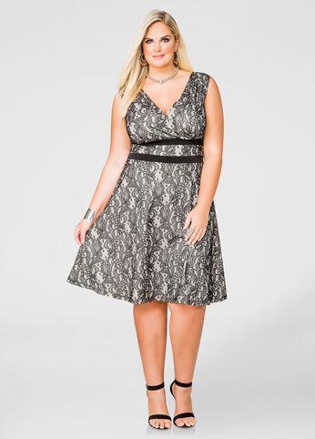 Lace Deep V A-line Dress