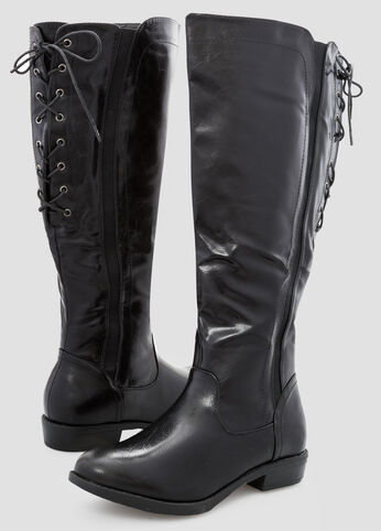 Lace Up Back Flat Tall Boot - Wide Width Wide Calf