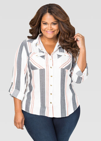 Striped Hi-Lo Button Shirt