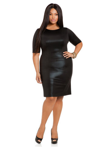Textured Faux Leather Dress