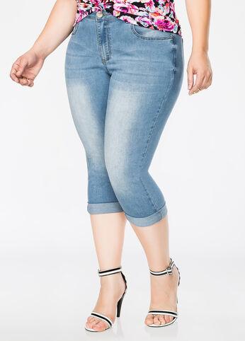 5-Pocket Rolled Cuff Capri Jean Light Pastel Blue - Jeans