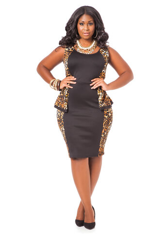 Leopard Print Colorblock Peplum Dress