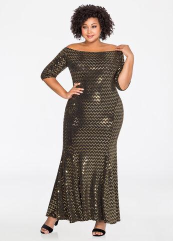 Metallic Sequin Mermaid Dress