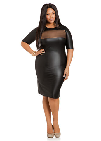 Faux Leather Color Block Sheath Dress