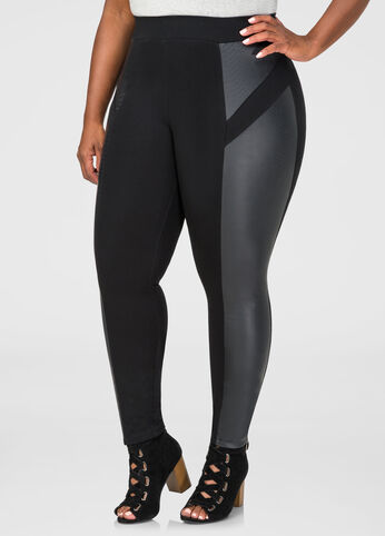 Snake Faux Leather Ponte Legging