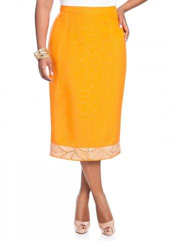 Linen Embellished Full Skirt