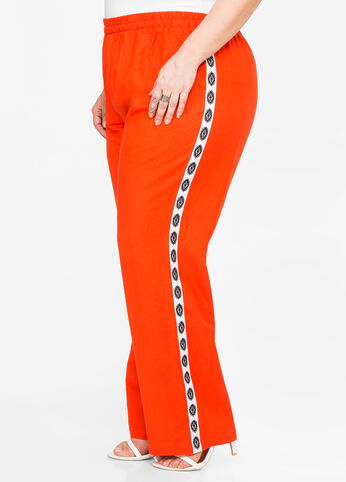 Tribal Side Wide Leg Linen Pant Orange.Com - Bottoms