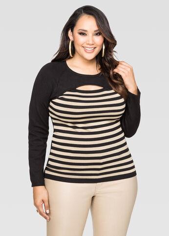 Stripe Peek-A-Boo Sweater