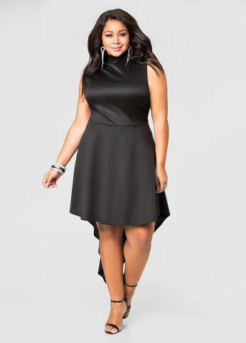 Mock Neck Hi-Lo Dress