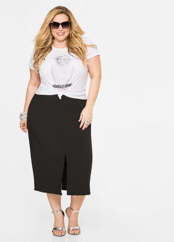 Double Slit Crepe Skirt Black - Bottoms