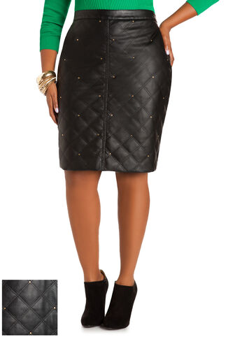 Quilted Faux Leather Skirt